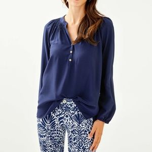 Lilly Pulitzer Navy Elsa Popover Blouse